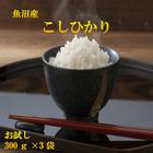 魚沼産コシヒカリ 300g(2合)×3【送料無料/日時指定不可商品】