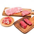 和牛イチボステーキ+和牛シャトーブリアン100g+和牛A5ステーキ250g 黒豚生ハム100g付