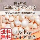 【2019年産】 乾燥バラにんにく 田子町産 福地ホワイト六片 1kg S・M・L混合 エコファーマー認定