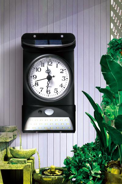 LED 人感 センサー ソーラー ライト 時計 付き 屋外 防水 led 庭 玄関 ドア 照明 明るい 門 扉 フェンス テラス エクステリア 改装 盗難 防止 防犯 カメラ 天気 高機能 設置簡単 時間管理 クロック clock