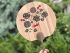 【送料無料】木製うちわ(金魚)