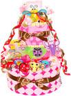 ★おむつケーキ 出産祝い Sassy 豪華9点付き 今治 4段 おむつケーキ ピンク