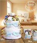 ★おむつケーキ 出産祝い オーガニック 3段 おむつケーキ ブルー