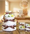 ★おむつケーキ 出産祝い オーガニック 3段 おむつケーキ カラーナチュラル