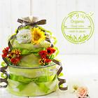 ★おむつケーキ 出産祝い オーガニック 3段 おむつケーキ カラーグリーン