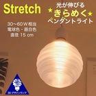 【送料無料】1灯ペンダントライト 直径 15 cm Stretch 3Dデザイン電球付き 3畳 おしゃれにきらめくオリジナル透明ランプシェード 電球色/昼白色 30~60W 相当 ダイニング用 食卓用 波模様 凹凸 凸凹 LED照明器具 インテリア