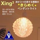 1灯ペンダントライト 直径 15 cm Xing3 3Dデザイン電球付き 3畳 おしゃれにきらめくオリジナル透明ランプシェード 電球色/昼白色 30~60W 相当 ダイニング用 食卓用 波模様 凹凸 凸凹 LED照明器具 インテリア