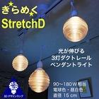 【送料無料】ダクトレール 3灯ペンダントライト Stretch 3Dデザイン電球付き 6畳 4畳半 おしゃれにきらめくオリジナル透明ランプシェード 電球色/昼白色 90~180W相当 ダイニング用 食卓用 波模様 凹凸 凸凹 LED照明器具