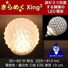 3Dデザイン電球Xing3 おしゃれにきらめく サイズが選べるオリジナル LED電球 30W 40W 60W相当 電球色 昼白色 直径10cm E26 中型ボール形 中形 交差する波模様 揺らめくトロピカルフルーツ風 果物風