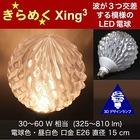3Dデザイン電球Xing3 おしゃれにきらめく サイズが選べるオリジナル LED電球 30W 40W 60W相当 電球色 昼白色 直径15cm E26 中型ボール形 中形 交差する波模様 揺らめくトロピカルフルーツ風 果物風