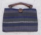 【送料無料】木の持ち手バッグ 1 1。1紺3 緑青グレー 絹