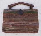 【送料無料】木の持ち手バッグ 4 多色織り 絹 1 1。1紺