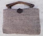 【送料無料】木の持ち手バッグ 1 1。16 ベージュ麻・絹