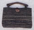 【送料無料】木の持ち手バッグ 1 1。1紺7 黒茶グレー 絹