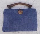 【送料無料】木の持ち手バッグ 1 1。1紺8 藍染 綿・絹