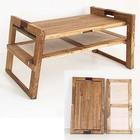 木と革の折りたたみローテーブル
