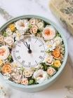 フラワー時計/ポジティブカラー!明るく華やかなオレンジ×グリーンアイボリー