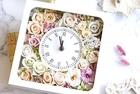 フラワー時計・スクエアタイプ/ほの甘く上品なフレンチシック/春いろパステルカラー