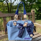 【持ち手長さ2種類付き】パカッと開く口金入り帆布バッグ(ライトブルー)
