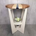 木とレジンの丸型サイドテーブル<E>