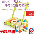 【送料無料】赤ちゃん 子供 木のおもちゃ 手押し車 つみき 知育玩具 PINTOY(ピントーイ) トドラーカートウィズブロックス
