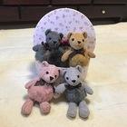 【送料無料】クマのコットンぬいぐるみ バッグチャーム キーチェーン リアルレッキスファー使用