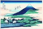 江戸木版画 葛飾北斎 冨嶽三十六景「相州梅沢左」額装