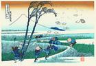 江戸木版画 葛飾北斎 冨嶽三十六景「駿州江尻」額装