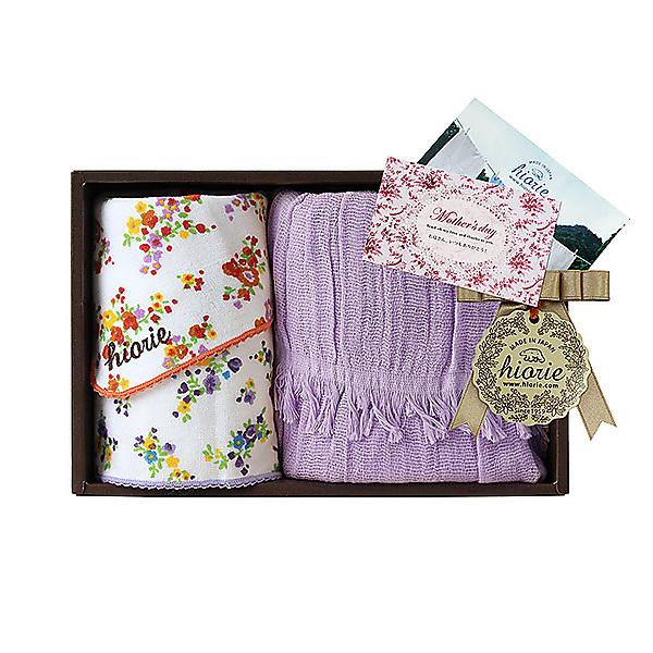 日本製 UVガーゼマフラー&花柄ガーゼハンカチ2枚ギフト バイオレットマフラーセット