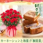 【2018母の日ギフト】赤カーネーション鉢植えとお取り寄せスイーツ和菓子「桐葉菓(とうようか」