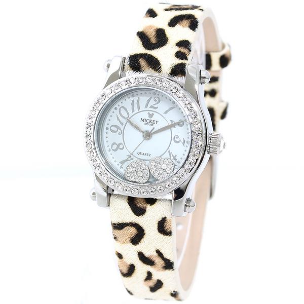 【ポイント交換モール】 ミッキー×スワロフスキーが輝く ディズニーウォッチ 腕時計 レディース 女性用 ミッキーマウス Disney 限定モデル 時計 キッズ 子ども用 カラー:ホワイト(ヒョウ)
