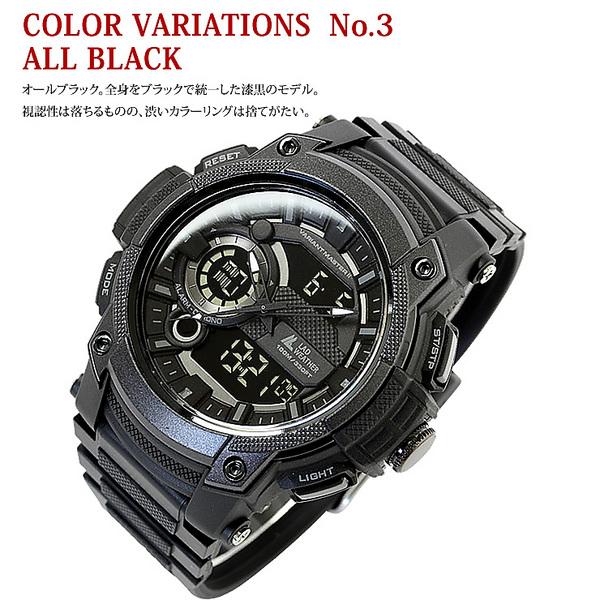 トリプルタイム搭載 迫力のミリタリーウォッチ アナログ デジタル 腕時計 メンズ 時計 プレゼント ギフト ブランド [ LAD WEATHER ラドウェザー ]
