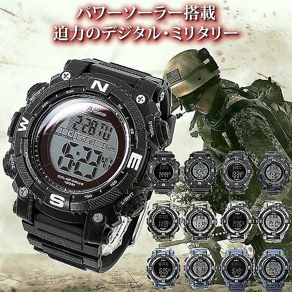 パワーソーラー搭載のミリタリー腕時計。