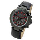 【ポイント交換モール】 腕時計 メンズ クロノグラフ 人気商品 雑誌掲載 200m防水 時計 ブランド カラー:ブラック×レッド(革)