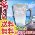 名入れギフト【ハワイアン泡立ちビア】ビールジョッキ・シングル・ブルー
