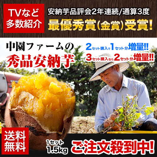 【W】★本場種子島産★中園ファーム秀品安納芋1.5kg(S~2Lサイズ混合品)※複数購入の場合おまとめ配送【2セットで1セット分おまけ】《2月中旬~3月上旬頃より順次出荷》