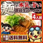 ラーメン 麺が本気で旨い讃岐生ラーメン 4人前 選べるスープ付き 送料無料