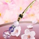 春爛漫を感じるお洒落ストラップ♪桜彫水晶ストラップ/桜色(ピンク)に秘められた7大パワー!