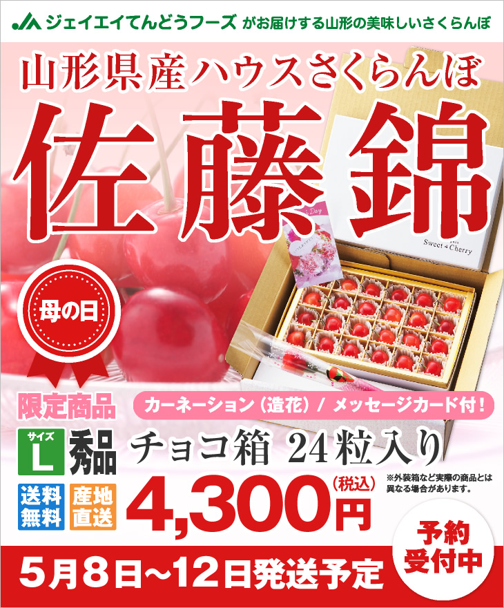 山形県産ハウスさくらんぼ母の日ギフト チョコ箱24粒入り