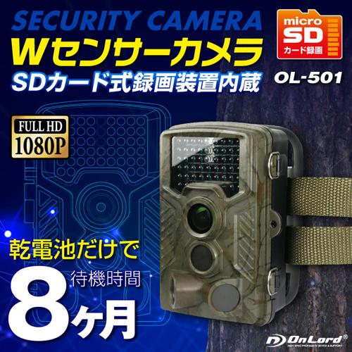 OnLoad オンロード SDカード防犯カメラ 屋外 防塵防水 録画装置内蔵 超強力赤外線LED 監視カメラ Wセンサーカメラ トレイルカメラ OL-501