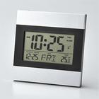 【代金引換不可】時計 デジタル アルミフレーム インテリアクロック アラーム・カレンダー・温度計機能付き