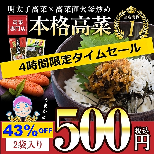 送料無料 国産 九州博多の高菜 2種類(明太子・直火)からお好きな2袋を選びるセット