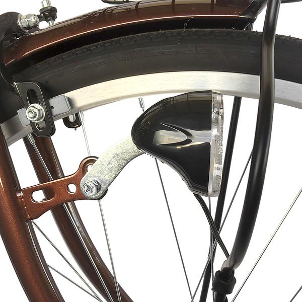 自転車 26インチ サントラスト ママチャリ 6段変速ギア オートライト ギア付き かぎ付き LECIEL ルシール 激安 ブラウン 茶色
