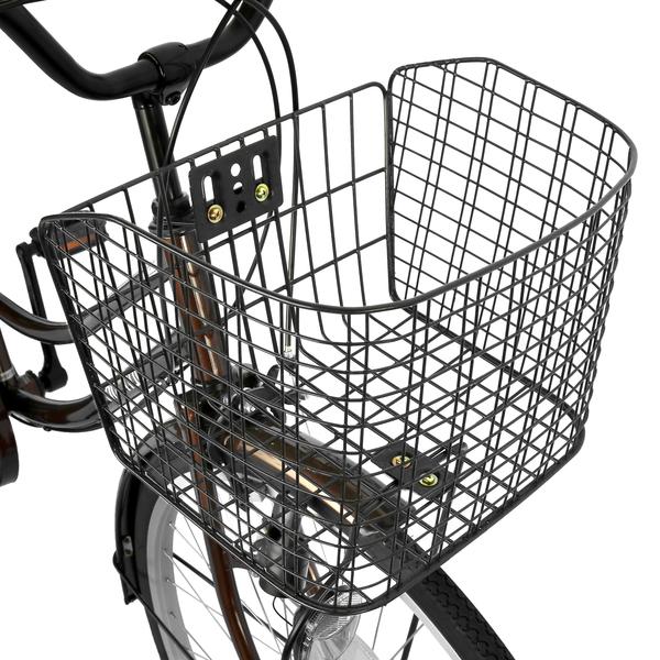 自転車 デザインフレームで人気 サントラスト ママチャリ 軽快車 ママチャリ 自転車 ブラウン  dixhuit 6段変速ギアフレーム 26インチ ギア付 鍵付 ハンドルとサドルが茶色でかわいいと大人気