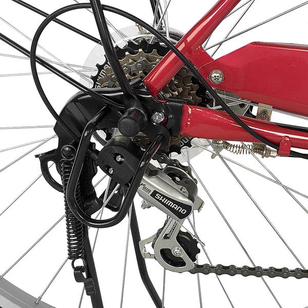 自転車 26インチ サントラストママチャリ6段変速ギア オートライト ギア付き かぎ付き LECIEL ルシール 激安 レッド 赤