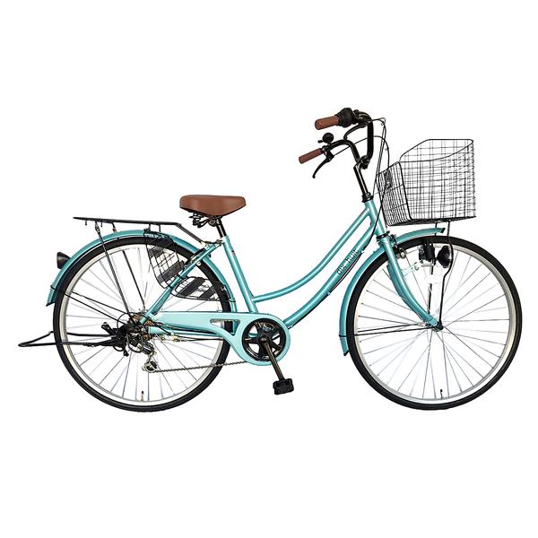 自転車 ママチャリ 軽快車 26インチ 6段ギア サントラスト SUNTRUST 自転車 ライトブルー 青 かわいいママチャリ おしゃれ シティサイクル 安い 通学 dixhuit ディズウィット ギア付きで使いやすいママチャリ 自転車 です。