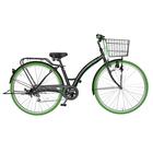 自転車 カラータイヤ paprika パプリカ シティサイクル グリーン 緑色 通勤 通学に最適 27インチ シティ車 外装6段ギア カラータイヤ 目立つかっこいいママチャリ