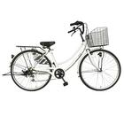 自転車 26インチ サントラストママチャリ6段変速ギア オートライト ギア付き かぎ付き LECIEL ルシール 激安 ホワイト