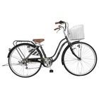 自転車 デザインフレーム ママチャリ ブラック 黒 通勤 通学 買い物に最適なママチャリ 27インチ 自転車 外装6段ギア ママチャリ オートライト SSフレーム 女性におすすめの安全性抜群の自転車