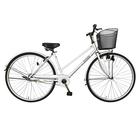 自転車 デザインフレームで人気 trois トロワ サントラストでシンプルなシティサイクル シティ車 27インチ ママチャリシティサイクル自転車 ホワイト/白 ギアなし